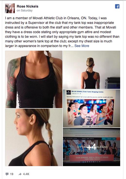 Cô gái ở Canada bị đuổi khỏi phòng gym vì